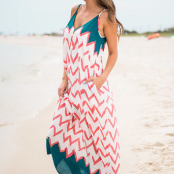 Cabo Bound Maxi Dress, Coral-Teal