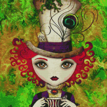 Cross stitch modern art kit by Sandra Vargas ' Lady Hatter' - Alice in Wonderland