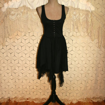 Goth Dress XS Edgy Gothic Black Lace Hankie Hem Sexy Witch Costume Low Cut Scoop Neck Tank Fit and Flare Dress Hot Topic Womens Clothing