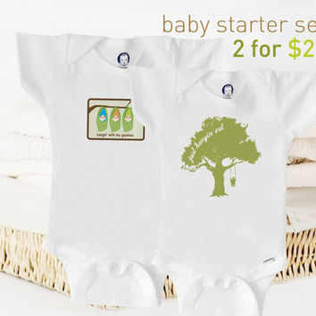Organic baby clothes organic set Onesuit baby by BoogalooBubbywear