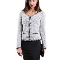 Bellario NY Boucle Cropped Jacket in Silver | ShopAmbience