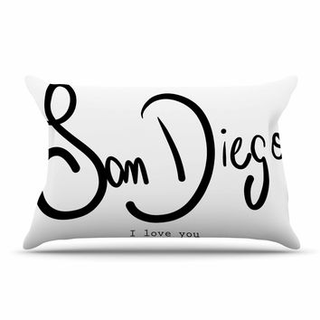 "Gabriela Fuente ""San Diego I Love You"" Travel Typography Pillow Case"