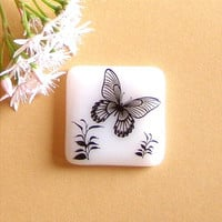 Fused Glass Magnet White Glass with Black by GreenhouseGlassworks
