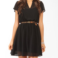 Short Sleeve Lace Inset Dress