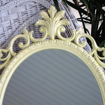 Vintage Wall Mirror Lemon Yellow Oval Shabby Chic Nursery