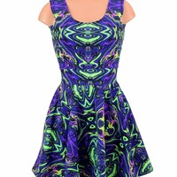 UV Glow Neon Melt Tank Skater Dress