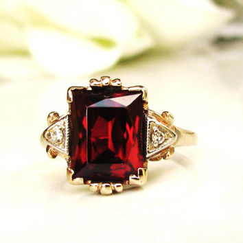 Vintage Emerald Cut Ruby& Diamond Ring 3.79ct Synthetic Ruby Alternative Art Deco Engagement Ring 10K Two Tone Gold Esemco Ring!