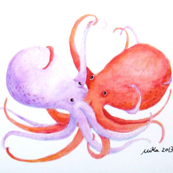 Octopus Illustration Print Watercolor Painting Print Red Purple Octopus Love Hate Nautical Ocean Art Beach Home Wall Decor 4x6 Octopus Print