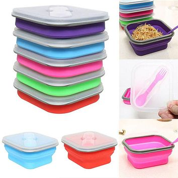 600ml Silicone Collapsible Mess Tin Portable Bento Boxes Bowl Folding Picnic Food Storage Container Lunchbox Utensils