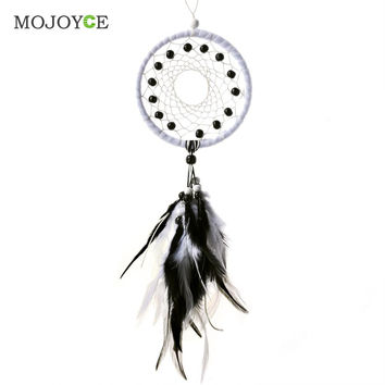 Dream Catcher with Leathers Beads Wall Hanging Home Car Decor Ornament Craft Dreamcatcher Decoration Gift Feather Pendant SN9
