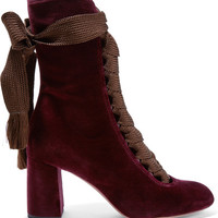 Chloé - Lace-up velvet ankle boots