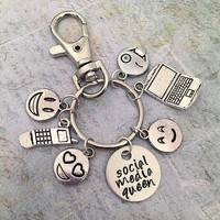 Social Media Queen Keychain or Bag Clip - Social Media Accessories - Famous Keychain - Fangirl Keychain - Queen Accessories - Team Internet