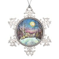 Silent Night Winter Full Moon in Sweden Snowflake Pewter Christmas Ornament