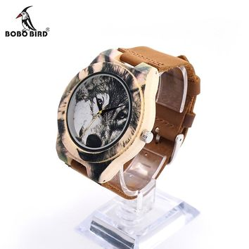 BOBO BIRD V-J21 Wooden Men Watch 3D Printing Wolf Head Icon Dial Quartz-watch Wood Clock in Gift Box relojes hombre 2016