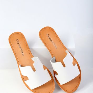 Ronnie White Slide Sandals