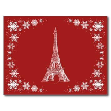 Paris Snow French Red Postcard