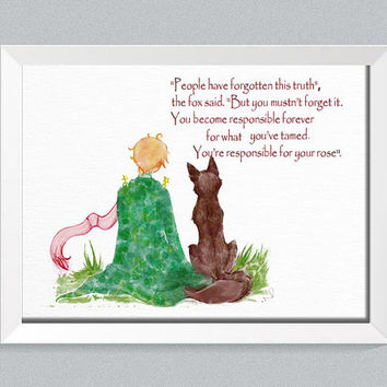Inspirational quote  Le Petit Prince Fox The little prince art The little prince Fox Quote prince room decor baby room baby shower gift