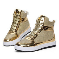 Spring new women's casual shoes high-top lace heavy-bottomed canvas shoes