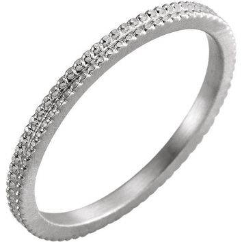 14k Gold Beaded Eternity 1.5mm Band - White, Yellow or Rose Gold