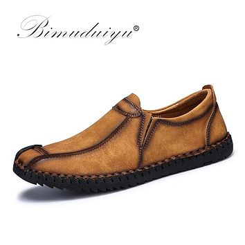 Fashion Comfortable Breathable Soft Leather Casual Shoes Loafers Shoes For Men Autumn Shoes Flats