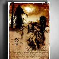 Skinwalker Navajo shapeshifter cryptid art, urban legend bestiary cryptozoology science journal art, monsters and folklore,