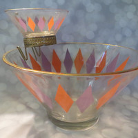 Vintage mid century  Diamond pattern   Glassware CHIP and DIP BOWL  Set Authentic Mid Century Modern Retro.