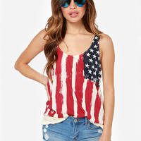 American Flag Print Chiffon Sleeveless Graphic Tank