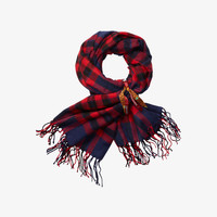 Scotch Shrunk Check Scarf with Fringes- 1444-08.70505 - Red Navy Check - FINAL SALE
