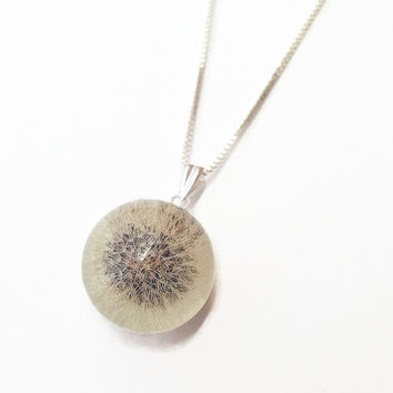 Make a wish whole Dandelion necklace in 925 sterling silver  - dandelion resin orb - resin jewelry - resin sphere - terrarium necklace