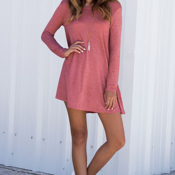 Sway Girl Long Sleeve Swing Dress with Pockets - Coral