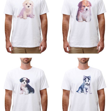 Men Dog hand painted watercolor Graphic Printed Cotton T-shirt MTS_00
