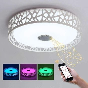 BLUE TIME D47xH12cm 36W RGB Music LED Chandeliers With Bluetooth Control Color Changing Lighting White Chandelier Light Bed Room
