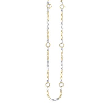 14K Yellow-White Gold 14.1-5.2mm Diamond Cut 6 Yellow Flat Round Link On Shiny White+Yellow Small Round Link Fancy Necklace with Lobster Clasp