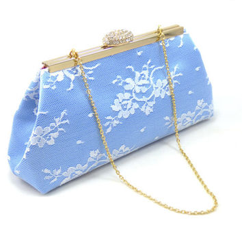 Serenity Blue, White Lace and Rose Quartz Bridal Clutch