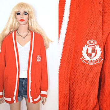 Vintage Oversized 80s Red and White Preppy Monogram Crested Letterman Sweater Cardigan L