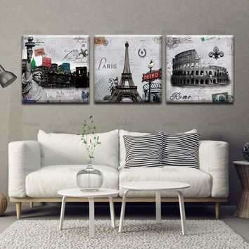 Canvas Painting Wall Art Pictures prints on Paris Roman Wall 3 Piece  Home Decoration Pictures Modern For Living Room no frame