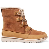 Sorel - Cozy Joan faux fur-lined suede and nubuck ankle boots