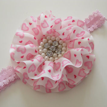 Girls white and pink flower headband - white and pink chiffon flower with rhinestone centre,toddler headband, hair accessories,photo prop