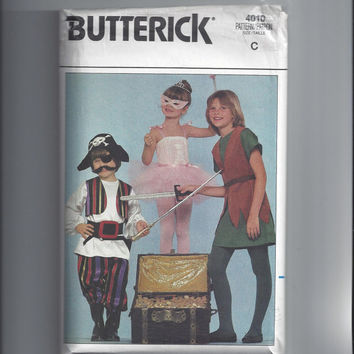 Butterick 4010 Pattern for Children's Halloween Costumes, Pirate, Ballerina, Robinhood, Sz Small, Med, Lg, From 1986. FACTORY FOLDED & UNCUT