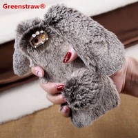 Phones Case For iPhone 8 7 Plus 6 8 Plus Bunny Shape Warm Artificial Fur TPU Rabbit Back Cover For iPhone 6 6s Plus 5s SE Capa