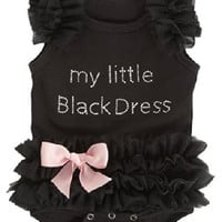 My Little Fashionista Baby Girl Little Black Dress Onesuit