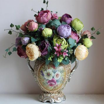 Artificial Silk Flowers European 1 Bouquet Peony Festival Patriarch Placed Flower For Wedding Home Party Decoration