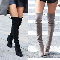 Faux Suede Women Over The Knee Boots Lace Up Sexy High Heels Shoes Woman Female Slim Thigh High Boots Botas Winter Shoes 34-43