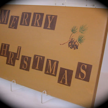 Christmas Merry Upcycled Recycled Cabinet Door Wall Hanging cij