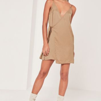 Missguided - Sarah Ashcroft 2 Piece Choker Silky Wrap Dress Nude