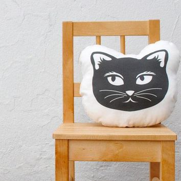 Organic Cat Pillow   Picked By Apartment Therapy   Eco Friendly Baby Toddler Stuffed Pillow Cushion   Modern Kids Home Decor In Black White