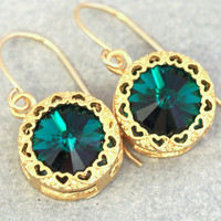Emerald Crystal Earrings,Emerald Swarovski Dangle Earrings,Bridesmaids Dark Green Earrings,Gift for Her,Gold filled Emerald Dangle Earrings