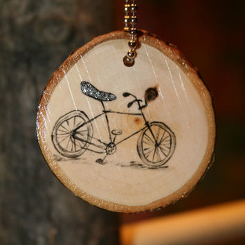 Bicycle Keychain by starlightwoods on Etsy