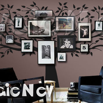 Family Tree Wall Decal -Picture Frame Background Wall Decals - Extra Large Tree Wall Sticker - TRFMLY020