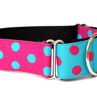"Martingale Dog Collar 1.5"" Pink and Blue Polka Dot Dog Collar Matching Dog Collar Flower Available"